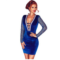 2016 Fashion New Women women elegant dresses long sleeve winter autumn Blue Velvet Rhinestone Detail Lace Insert Evening Party
