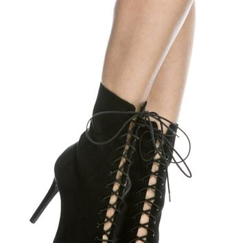 Black Faux Suede Pointed Toe Lace Up Booties @ Cicihot. Booties spell style, so if you want to show what you're made of, pick up a pair. Have fun experimenting with all we have to offer!
