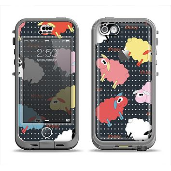 The Colorful Sheep Polka Dot Pattern Apple iPhone 5c LifeProof Nuud Case Skin Set