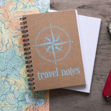 Travel notebook journal, spiral notebook, kraft paper notebook notes, pocket notebook, travel blank book, travel accessories, adventure book