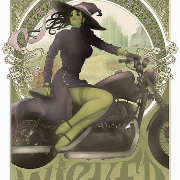 Art Print  - Wicked, Wicked Witch, Wizard of Oz, Elphaba, Motorcycle, Art Nouveau, Mucha, 18 x 24 Poster