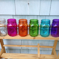 Set of Four 16-Ounce Rainbow Mason Jar Mugs