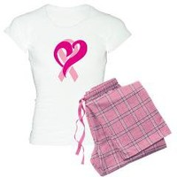 Breast cancer ribbon and hear Women's Light Pajama> Breast cancer ribbon and heart> Chillin in Tha Ville
