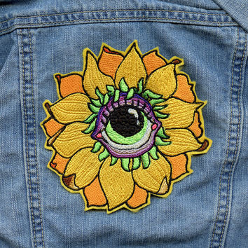 Large Eye SunFlower Power Patch iron on embroidered psychedelic