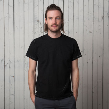 The Signature T Short Sleeve   Black French Terry