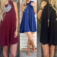 Pure Color O-neck Sleeveless Loose Short Dress