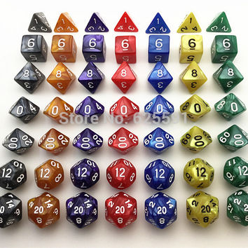 7pcs bag High Quality Marble effect Dice Set D4 d6 d8 d10 d10% d12 d20 dice sets for Dnd Game dice