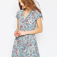 ASOS | ASOS Tea Dress With Ruffles in Vintage Floral Print at ASOS