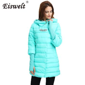 EISWELT 2017 Women Winter Fur Coat  Jacket Women Diamonds Hooded Long Parkas Thickening Female Warm Clothes Outwear Coats