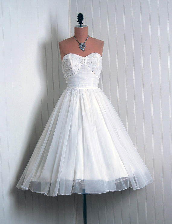 1950's Vintage IvoryWhite Ruched by TimelessVixenVintage on Etsy