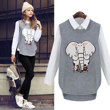 Shirt+Elephant Knitted Sweater Waistcoat 2Pcs Suit