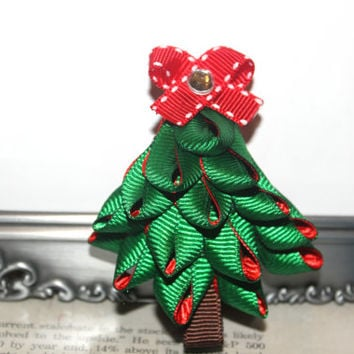 Christmas tree hair clip Holiday hair bow Ribbon sculpture hair clip Christmas hair bow Winter hair clip Red and Green Christmas tree clip