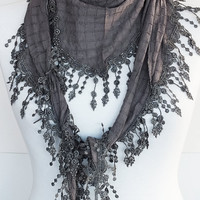 GRAY Organic Cotton Scarf With Fringed Lace by mediterraneanlights
