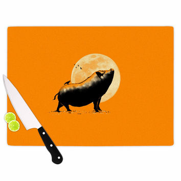 "BarmalisiRTB ""Barking Pig"" Black Orange Cutting Board"