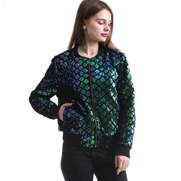 Mermaid Scale Sequin Bomber