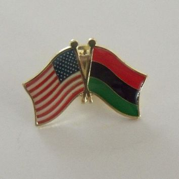 Afro American Flag And USA Lapel Pin Crossed Friendship Pin Tie Pin