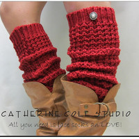 New Red hand knit look textured slouchy leg warmers retro 80s look  for boots and shoes great gifts stocking stuffers Catherine Cole Studio