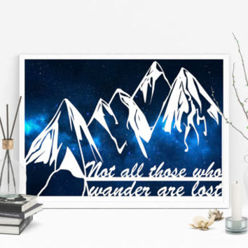 Mountain Art - Paper Cut Out - Not all who wander are lost - Wanderlust Quotes - Inspirational Quote - Cut Paper Art - Art Decor