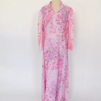 Vintage 1970s Boho Long Maxi Gown Folk 60s Hippie Dress 70s Avant Garde Groovy Neon Pink Floral Prom Gown Long Sleeve Size Medium Large
