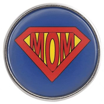"Snap Charm Mom in Superman Symbol 20 mm 3/4"" Diameter"