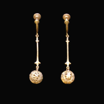 1900's Brass Filigree Ball Dangle Earrings, Screw Back