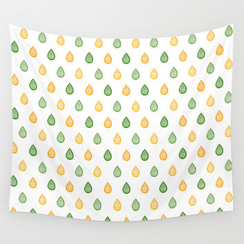 Yellow and green raindrops Wall Tapestry by Savousepate