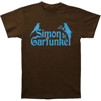 Simon & Garfunkel Men's  Birds Slim Fit T-shirt Brown