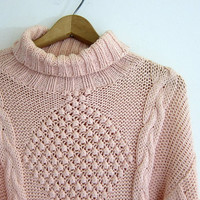 Vintage peachy pink tunic sweater. Oversized cable knit sweater. Chunky popcorn knit pullover sweater dress.