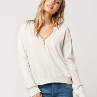 SOCIALITE Raw Cross Front Womens Sweatshirt | Pullovers