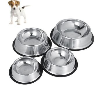 LMFLD1 Dog Bowl Stainless Steel Travel Feeding Feeder Water Bowl For Pet Dog Cat Puppy  Food Bowl Water Dish 4 Sizes