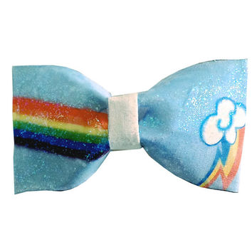 Rainbow Dash Inspired My Little Pony Friendship Is Magic Hair Bow or Bow Tie Geeky Glitter Fabric Bow