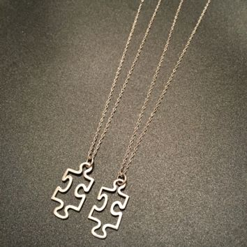 Autism Awareness Puzzle Piece Necklace- Sterling Silver Puzzle Piece & Chain