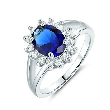 Ocean Blue Cubic Zirconia Ring Aquamarine Color CZ Stone White Gold Tone Anniversary Band for Women