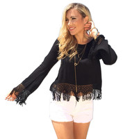 Lace Long-Sleeved Chiffon Solid Color O-Neck Halter Tassel Shirt
