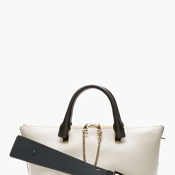 Chlo Grey And Black Leather Baylee Small Tote