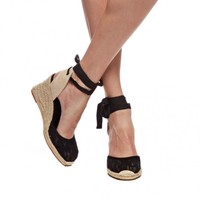 Tall Wedge Sandal - Chantilly Lace Black Espadrilles for Women from Soludos - Soludos Espadrilles