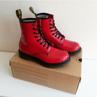 Red patent Dr. Martens, 8 Eyelet 1460 Women's Boots, red leather, size UK 5, 38