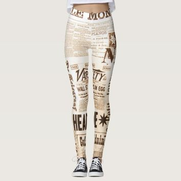 Vintage Newspaper Typography Old Ads Leggings
