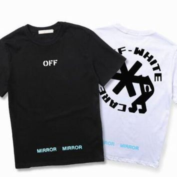 DCCKIJ2 Off White T shirt Men Women USA Size The snowflake letters Off White Abloh Virgil T-shirts Top Tees Off White T shirt kanye west