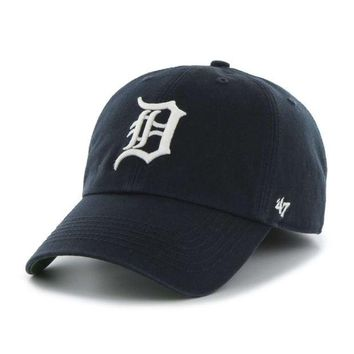 ONETOW MLB 47 Brand Detroit Tigers Home Franchise-Garment Washed Blue with White Old English D