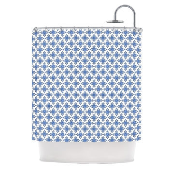 "Carolyn Greifeld ""Bohemian Blues III"" White Blue Shower Curtain"
