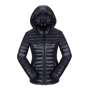 Women Winter Fashion Plus Size Long Sleeve Padded Down Coat with Removable Hat [9378737924]