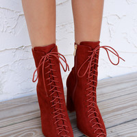 Morocco Rust Faux Fur Lace Up Ankle Bootie