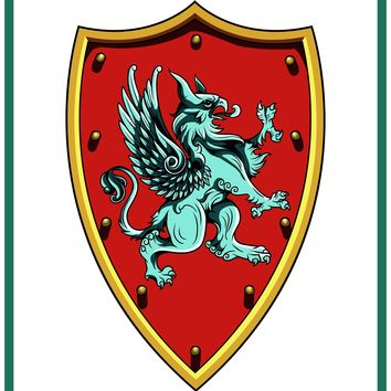 Griffin Crest Coat of Arms inspired by a  Medieval Tapestry Counted Cross Stitch or Counted Needlepoint Pattern