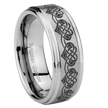 8mm Celtic Knot Heart Step Edges Brushed Tungsten Carbide Mens Anniversary Ring