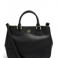 Black Robinson Double Zip Tote Bag by Tory Burch