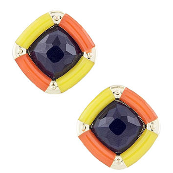Square Blue, Orange & Yellow Earrings