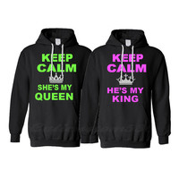 "2 black matching hoodies ""keep calm she's my queen "" ""keep calm he's my king"""