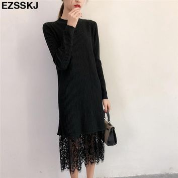 Autumn Winter lace Long sweater dress Women Knitted Lace thick dress Jumper Soft Warm Female loose straight Sweater dress