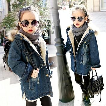 Big Kids Winter Warm Trench Thick Children Denim Jacket Coat